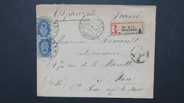 Russie Lettre Recommandé De Moscou 1907 Pour Le Mans  , Registerd Cover From Russia To France 1907 - Covers & Documents