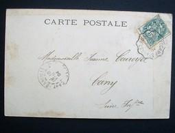 """Cachet Convoyeur """"ST VAAST BOSVILLE A FECAMP 1904 Frappe Superbe Cp Femme Roses 2 Scans - Poststempel (Briefe)"""