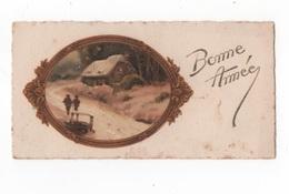 BONNE ANNEE - PTE CARTE CRANTEE - EN MEDAILLON PAYSAGE COULEUR 11.2 X 6  - VOYAGEE - Nouvel An