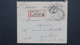 Russie Lettre Recommandé  Moscou  Pour Le Mans 1907 , Registerd Cover From Russia To France 1907 - Covers & Documents