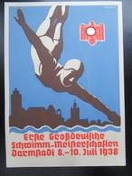 Postkarte Großdeutsche Schwimm-Meisterschaften Darmstadt 1938 - Allemagne