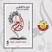 Qatar - 2017 - Teacher's Day - Mint Souvenir Sheet With Silver Hot Foil Intaglio Imprint - Qatar