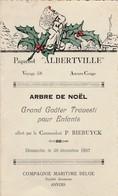 """Menu """"grand Goûter"""" Compagnie Maritime Belge Paquebot Albertville 26 Décembre 1937 - Menus"""
