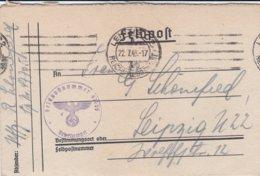German Feldpost WW2: From A Horse Hospital - Pferde-Lazarett 584 FP 47705 P/m Leipzig 22.7.1943 - Letter Inside (G92-8) - Militaria
