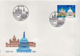 Switzerland Stamp On FDC, Joint Issue With USA - Joint Issues