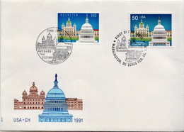 Switzerland / USA Stamps On FDC, Joint Issues - Joint Issues