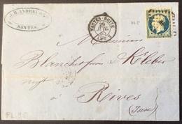 """PL95  Loire Inférieure Nantes-Boîte Amb 2 29/7/1855 """"Andreu Et Cie"""" - Marcophilie (Lettres)"""
