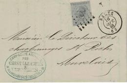 Belgique, Namur => Auvelais 16-09-1868 Charbonnage St-Roch, Cristalleries-Verreries Namuroise COB N° 18 - 1865-1866 Profil Gauche