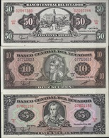 B43 - EQUATEUR 3 Billets De 5-10 Et 50 Sucres De 1988 1er Choix - Equateur