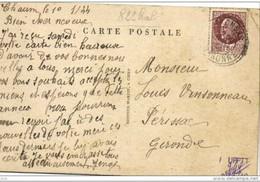"""Rare Cachet Perlé Facteur Boitier """"Fronsac Hte Garonne 1944""""  Indice=5 Sur Cp CIERP - Cachets Manuels"""