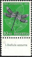 "Schweiz Suisse Pro Juventute 1951: Zu 139 Mi 562 Yv 513 ** MNH + Tab Italiano ""Libellula Azzura"" (SBK CHF 4.00) - Altri"