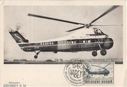 BELGIQUE YT N°1011 OBLITERE PREMIER JOUR(FDC) SUR CARTE MAXIMUM - Hélicoptères