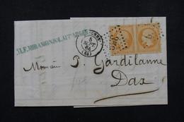 FRANCE - Lettre De Bayonne Pour Dax En 1864 , Affranchissement Napoléon 40cts En Paire , Oblitération GC 359 - L 21864 - Marcofilie (Brieven)