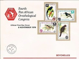 Seychelles YT 351/4 / FDC 4th Pan African Ornithological Congress Victoria 08/11/76 - Seychelles (1976-...)