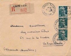 Lettre Recommandée Gandon 2F Saintes Charente Maritime - 1921-1960: Période Moderne