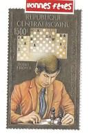 RREPUBLIQUE Centrafricaine FEUILLE D'OR Les Grands Maitres Des Echec Bobby Fischer - Echecs