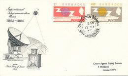 DC-1465 - FDC 1965 - 100 YEARS TELECOMMUNICATION ITU - UIT - SATELLITE - BARBADOS - Telecom