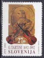 Slowenien Slovenia 1992 Kunst Arts Kultur Culture Musik Music Geigen Violins Komponisten Giuseppe Tartini, Mi. 19 ** - Eslovenia