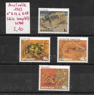 Reptile Crapaud Lézard Varan - Australie N°812 à 815 1983 ** - Non Classificati