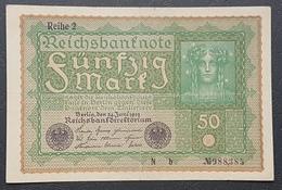 EBN12 - Germany 1919 Banknote 50 Mark Pick 69b Reihe 2 #N B 988385 - 50 Mark