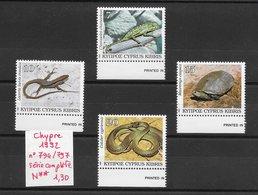 Reptile Caméléon Lézard Serpent Tortue - Chypre N°794 à 797 1992 ** - Reptiles & Batraciens