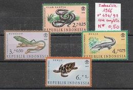 Reptile Crocodile Python Tortue Lézard - Indonésie N°494 à 497 1966 * - Reptiles & Batraciens