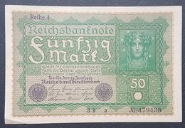 EBN12 - Germany 1919 Banknote 50 Mark Pick 69b Reihe 1 #B1 A 479436 A-UNC - [ 3] 1918-1933 : Weimar Republic