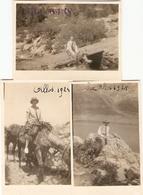 Lot De 3 Photographies Petit Format, Allos (04), Randonnée à Cheval Vers Le Lac, Photos De 1924, Bon état - Lieux