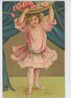 ENFANTS - LITTLE GIRL - MAEDCHEN - Jolie Carte Fantaisie Avec Dorure Fillette Et Corbeille De Roses - Dessins D'enfants