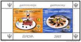 Montenegro 2005 Y&T 116/7, Michel 104/5. Europa 2005, Gastronomie, En Feuillets De Carnets - Europa-CEPT