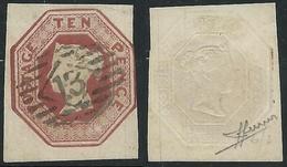 1847-54 GREAT BRITAIN USED REGINA VITTORIA SG 57 10d PLATE 2 - E152 - 1840-1901 (Victoria)