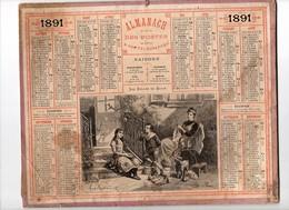 Calendrier Almanach Des Postes Et Télégraphes 1891 Oberthur Les Bulles De Savon Maine Et Loire - Calendriers