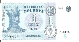 MOLDAVIE 5 LEI  20015 UNC P New - Moldova