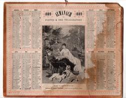 Calendrier Almanach Des Postes Et Télégraphes 1889 Oberthur Dans Le Jardin D'hiver De Tony Faivre - Calendari