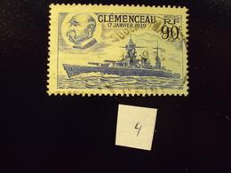 """1938     -timbre Oblitéré N° 425    """"  Clemenceau 90c Bleu    """"       Cote  0.80     Net    0.25       (photo 4) - Frankreich"""