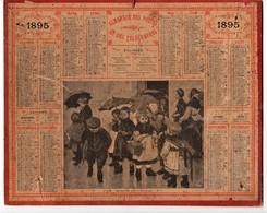 Calendrier Almanach Des Postes Et Télégraphes 1895 Oberthur Sortie De L'école - Calendari