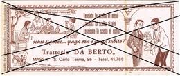 """Massa- Trattoria """"Da Berto""""- Via S.Carlo Terme,96-Depliant Pieghevole Vintage - Programmi"""