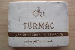 TABACCO FUMO CONTENITORE DI LATTA SCATOLETTA PER SIGARETTE TURMAC TURKISH MACEDONIA TOBACCO Cm. 14x11 - Contenitori Di Tabacco (vuoti)