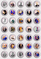 35 X Thomas Alva Edison BADGE BUTTON PIN SET 1 (1inch/25mm Diameter) - Celebrities