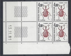 TAXE N° 108 - Bloc De 4 COIN DATE - NEUF SANS CHARNIERE - 13/11/81 - Portomarken