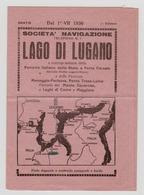 Societa Navigazione Lago Di LUGANO 1936 Horaire Des Bateaux - Europe