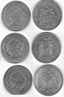 Lot De Trois (3) Pièces En Argent De 50 Francs - 1974 - 1975 - 1977 - M. 50 Franchi