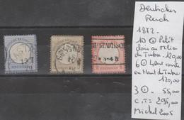 TIMBRES D ALLEMAGNE OBLITERES   1872  NR 10° PETIT CLAIR AU MILIEU DU TIMBRE-6°  4 DENTS COURTE - 3°   COTE 295  € - Oblitérés