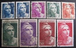 R1680/435 - 1945 - TYPE MARIANNE DE GANDON -  N°725 à 733 ☉ - Cote : 18,50 € - France