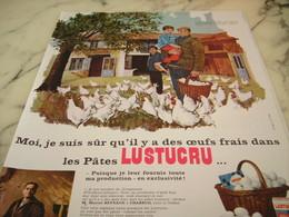 ANCIENNE PUBLICITE PATE ALIMENTAIRE OEUFS FRAIS LUSTUCRU 1968 - Affiches