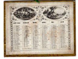 ALMANACH-CALENDRIER  1869 (2 Semestriel) Allégorie Des  Quatres Saisons  -  FEV-2019-clas - Calendriers