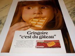 ANCIENNE PUBLICITE C EST DU GATEAUX  GRINGOIRE 1968 - Affiches