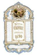 ALMANACH-CALENDRIER CHROMOS 1870 Allégorie Médaillon Berger   Chromo  Napoléon III Dorure Or  FEV-2019-clas - Calendriers