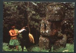 Iles Marquises - Le Tiki Géant Tekaii De La Vallée De Puamau, île De Hiva Oa .islet. Horse , Cheval - Polynésie Française
