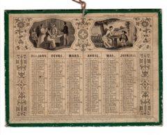 ALMANACH-CALENDRIER  1855 Semestriel Médaillon, Mélodie, Jeune Italienne , La Collation. Conseils...mère  Second Empire - Calendriers
